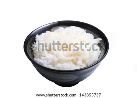 Asian rice bowl isolated on a white background. - stock photo