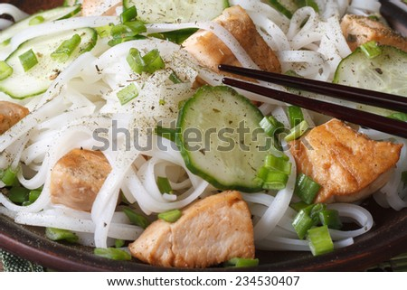 Asian rice noodles with chicken and cucumbers macro on a plate. horizontal  - stock photo