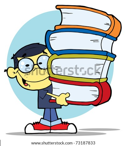 Asian School Boy Carrying A Stack Of Books - stock photo