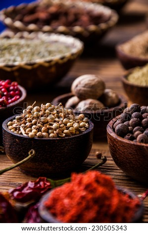 Asian seasoning, spices theme - stock photo
