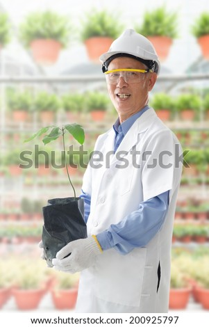 asian senior male farming research scientist in workplace - stock photo