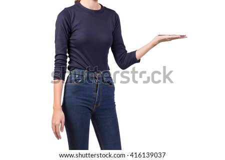 Asian slim woman holding digital tablet, isolated on white. - stock photo