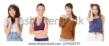 Asian smiling woman, closeup portrait collection. - stock photo