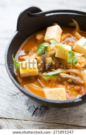 Asian soup with tofu - stock photo