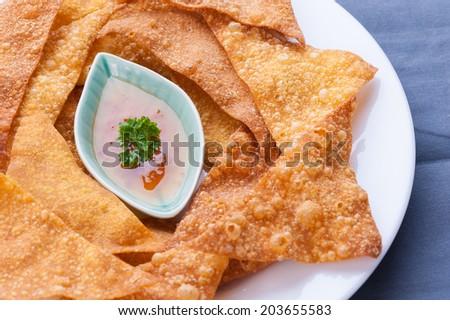 Asian style appetizer, Deep Fried Wonton. - stock photo
