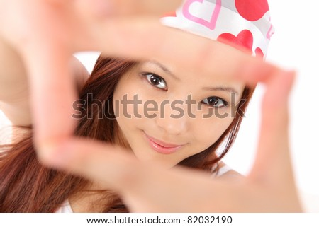 Asian teen frame view - stock photo