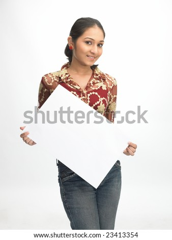 Asian  teenage girl holding the white placard - stock photo