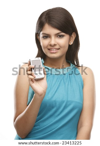 Asian teenage girl with cell phone - stock photo