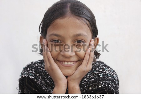 Asian teenage girl with smiling face - stock photo