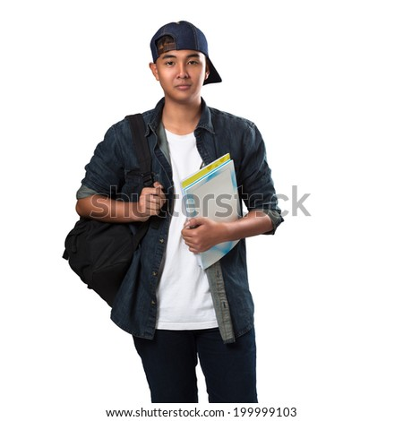 Asian teenager boy standing, Isolated over white - stock photo