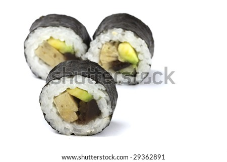 asian traditional food with raw fish with seaweed - stock photo
