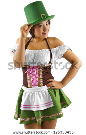 Asian waitress in a St Patricks Day costume - stock photo