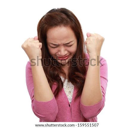 Asian woman angry, feeling & emotion concept / isolated on white - stock photo