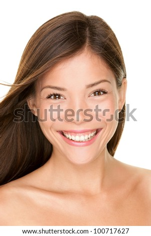 Asian woman beauty portrait. Skin care face closeup of beautiful happy mixed race Asian Chinese / Caucasian female beauty model brunettte. - stock photo
