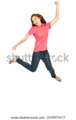 Asian woman celebrating in midair jumping with exaggerated smile, arms legs extended, fist raised showing extreme happiness, ecstatic, overjoyed emotion and laughing - stock photo