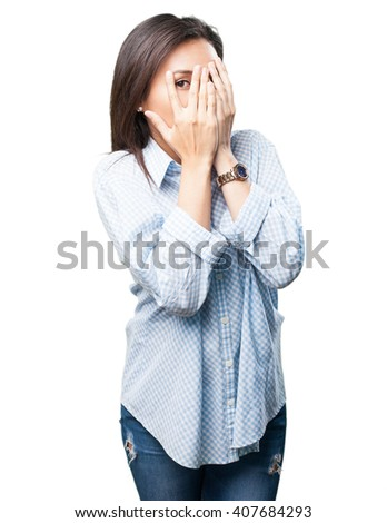 asian woman covering her face - stock photo