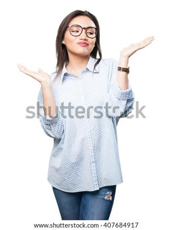 asian woman doing balance gesture - stock photo