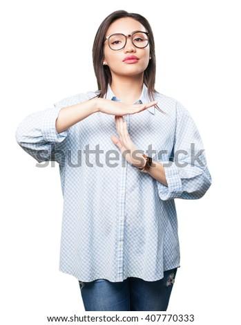 asian woman doing break gesture - stock photo