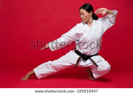 Asian woman exercising karate - stock photo