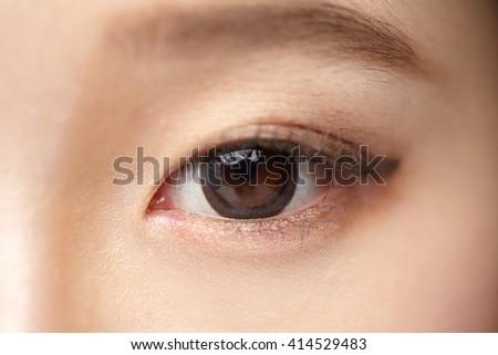 Asian woman eyes close-up - stock photo