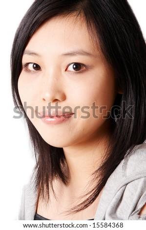asian woman face - stock photo