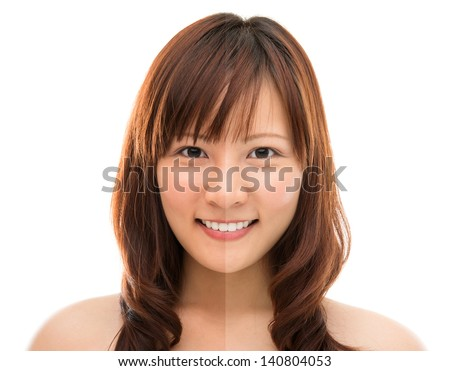 Asian woman face with half tan skin (before and after) isolated on white background. Beautiful Asian girl model. - stock photo