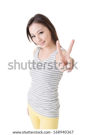 Asian woman give you a sign of peace, closeup portrait isolated on white background. - stock photo