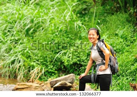 asian woman hiker - stock photo