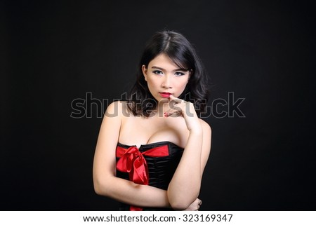 Asian woman in lingerie night dress  - stock photo