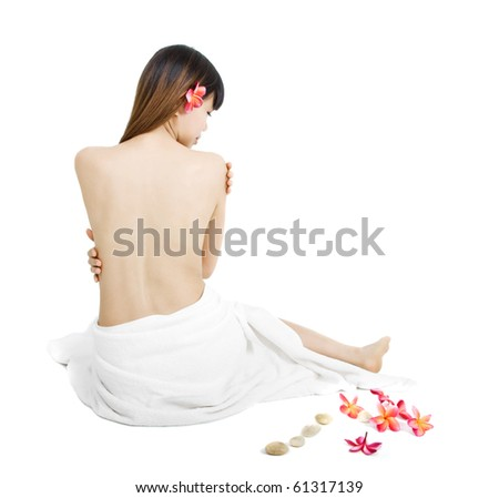 asian woman in white towel isolated on white - stock photo