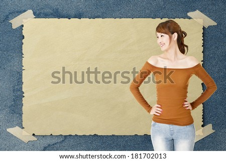 Asian woman look at left with copyspace, closeup portrait. - stock photo