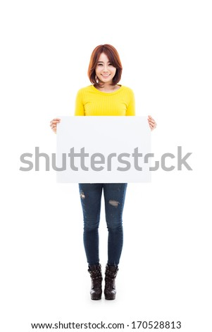 Asian woman showing banner isolated on white background. - stock photo