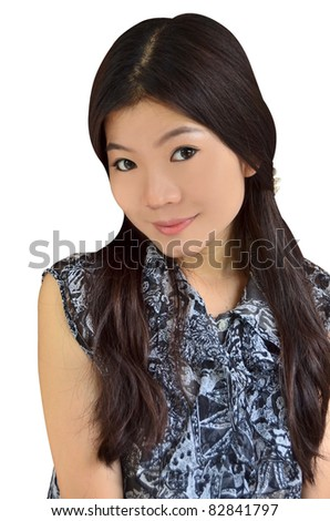 Asian woman smiling on white background - stock photo