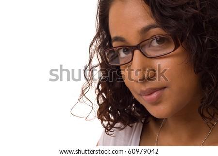 asian woman wearing glasses. - stock photo