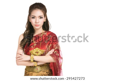 Asian woman wearing typical (traditional) Thai dress,vintage original Thailand attire ,identity culture of Thailand,Thai girl,Happy asian woman with blank copyspace,isolated on white background - stock photo