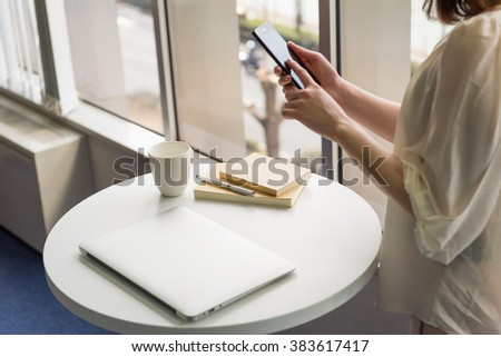 asian woman with cellphone - stock photo