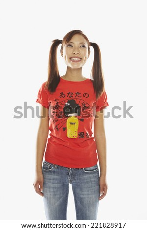 Asian woman with ponytails - stock photo