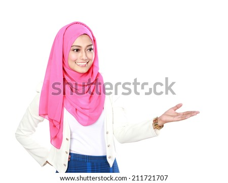 asian woman with scarf presenting copyspace isolated over white background - stock photo