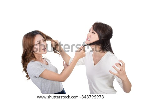 Asian women fight and pull hair. - stock photo