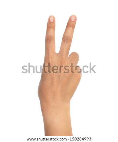 Asian women hand in number sign isolated on white background. - stock photo