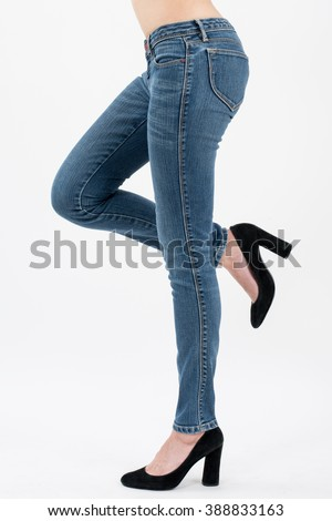 asian women posing lift her leg in jeans front views,isolated on white background. - stock photo