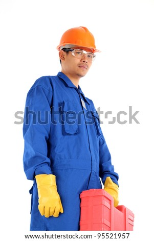 asian worker complete with personal protective equipment and tool box ready to work on safety working environment concept - stock photo