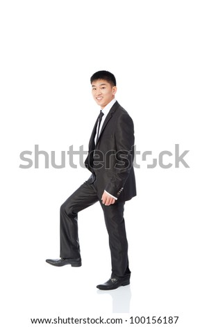 asian young business man happy smile go making step up forward, businessman walk wear elegant suit and tie full length portrait isolated over white background - stock photo