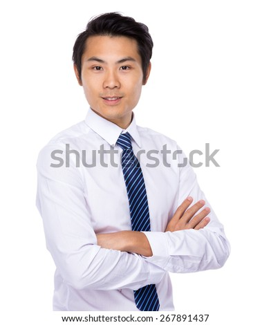 Asian young business man isolated on white background - stock photo
