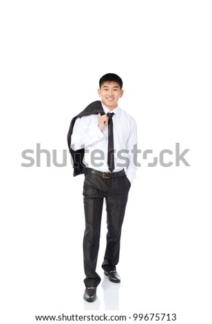 asian young business man relaxed happy smile, businessman walking make step forward hold jacket on shoulder back elegant suit and tie full length portrait isolated over white background - stock photo