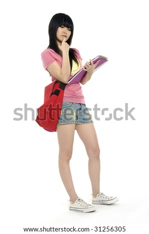 Asian young girl going to school - stock photo