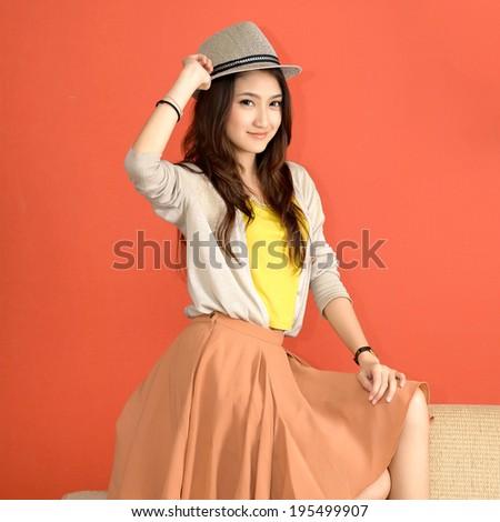 Asian young women cute - stock photo