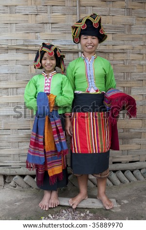Asiatische Frauen Laos, Thai Dam - stock photo