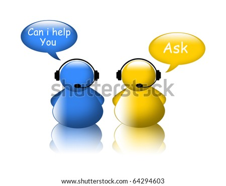 Ask help icon. Agent on phone - stock photo