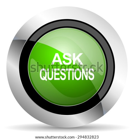 ask questions icon, green button  - stock photo